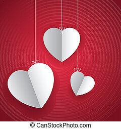 coração, amor, fundo, penduradas