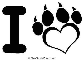 coração, amor, garras, pata, cão, desenho, logotipo, impressão, pretas