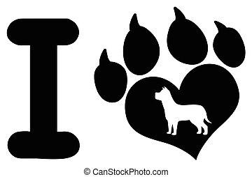 coração, amor, garras, pata, cão, desenho, logotipo, impressão, pretas, silueta