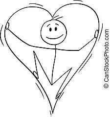 coração, amor, grande, dentro, vetorial, caricatura, homem