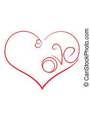 """coração, amor, inscrição, símbolo, anéis acoplamento, """"love""""."""
