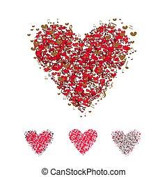coração, amor, isolado, cobrança, símbolo, vector., branca, ícone, vermelho