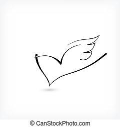coração, amor, livre, logotipo, asas, mínimo