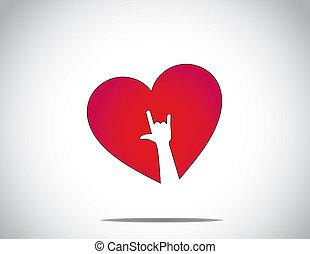 coração, amor, &, mão, branca, tu, vermelho