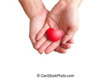 coração, amor, mão