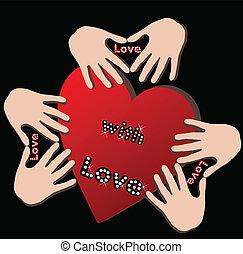 coração, amor, mãos
