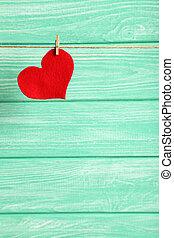 coração, amor, madeira, corda, fundo, penduradas, hortelã