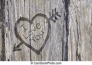 coração, amor, madeira, graffiti, esculpido, seta