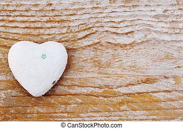 coração, amor, madeira, símbolo, valentines, -, fundo, dia