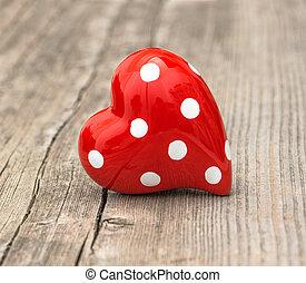Coração, Amor, madeira,  valentines, fundo, Dia, vermelho