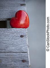 Coração, Amor, madeira,  valentines, fundo, fundo, tabela, Dia, vermelho