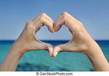 Coração, Amor, mar, gesto, mão