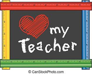 coração, amor, meu, professor, régua, quadro