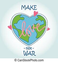 coração, -, amor, mundo