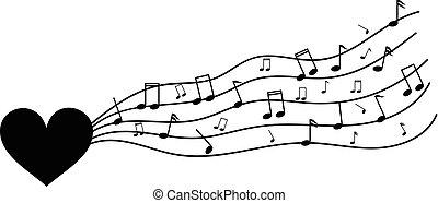 coração, amor, notas, isolado, música, branca, musical