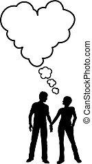 coração, amor, par, borbulho fala, pensar, conversa