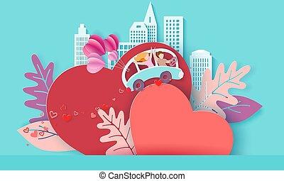 coração, amor, par, dia dos namorados, cartão