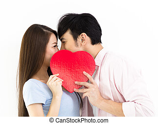 coração, amor, par, jovem, segurando, vermelho
