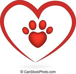 coração, amor, pata, cão, impressão, logotipo