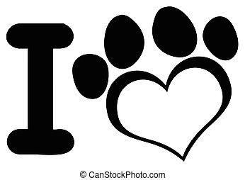 coração, amor, pata, cão, pretas, logotipo, impressão, desenho