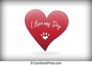 coração, amor, pata, cão, vetorial, desenho, logotipo
