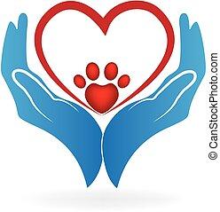 coração, amor, pata, mãos, impressão, logotipo