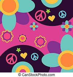 coração, amor, paz, livre, disco, música, vinil, flores, espírito