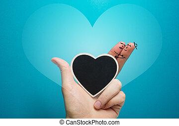 coração, amor, pintado, quadro-negro, smiley, dedos, feliz