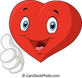 Coração, Amor, polegar, Dar, cima, caricatura