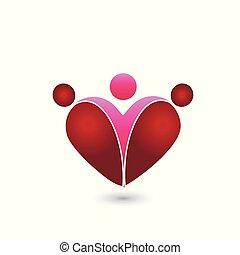 coração, amor, símbolo., família