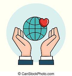 coração, amor, símbolo, paz, mãos, mundo