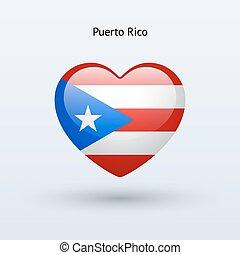 coração, amor, símbolo., rico, bandeira, puerto, icon.