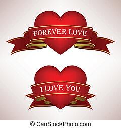 coração, amor, scroll, fita