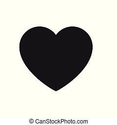 coração, amor, sinal, fundo, branca, ícone