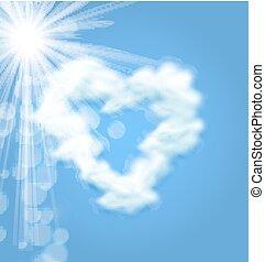 coração, amor, sol, símbolo, forma, nuvem fofa