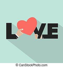 coração, amor, tipografia, símbolo.