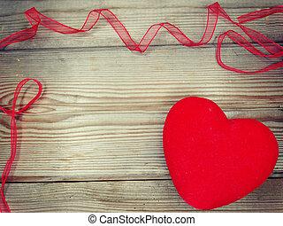 coração, amor, valentine, madeira, fundo, dia