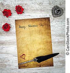 coração, amor, valentines, cartão, rosas, dia, pena, feliz