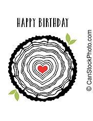 coração, anéis, árvore, cartão, aniversário
