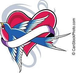 coração, andorinha, desenho