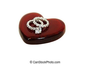 coração, anel, obrigação, diamante