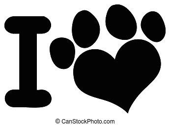 coração, animais, amor, pata, pretas, logotipo, impressão, desenho