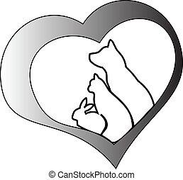 coração, animais estimação