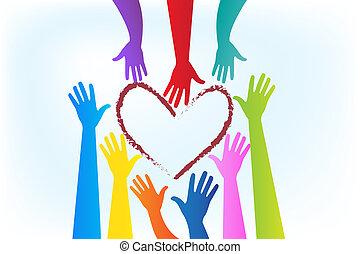 coração, ao redor, imagem, vetorial, mãos, logotipo