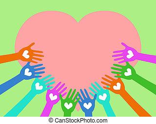 coração, ao redor, mãos