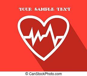 coração, apartamento, cardiograma, símbolo., ilustração, vetorial, saúde, longo, sombra, icon.