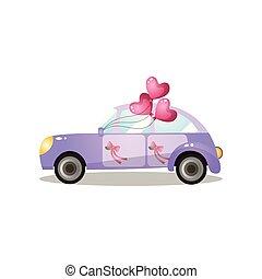 coração, apenas, dado forma, roxo, car, casado, retro, balões