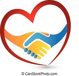 coração, aperto mão, amor, pessoas negócio, logotipo