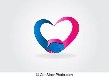coração, aperto mão, amor, pessoas, par, logotipo