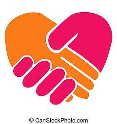 coração, aperto mão
